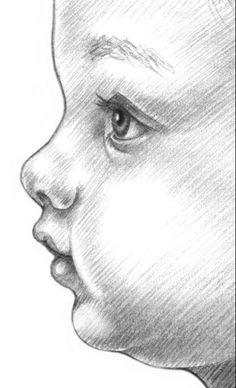 How to Draw, Shade Realistic Eyes, Nose and Lips with Graphite Pencils - Drawing On Demand - Auf folgende Seite erkennen Sie, wie kann man ganz einfach ein Baby malen – Anleitung ist auch dabei. Pencil Art Drawings, Art Drawings Sketches, Cute Drawings, Drawings Of Faces, Drawing Art, Sketches Of Faces, Creative Pencil Drawings, Drawings Of People, Drawing Portraits