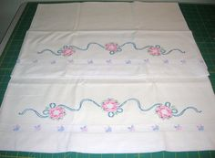 2 Vintage 1950's Pillowcases With Hand Embroidered Trim Decoration