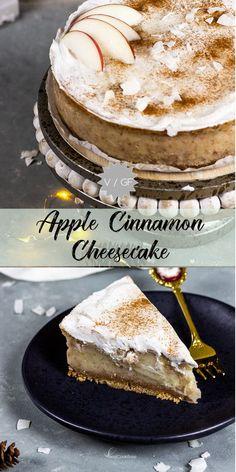 Easy vegan Apple Cinnamon Cheesecake with cookie (spekulatius) crust recipe for . - Easy vegan Apple Cinnamon Cheesecake with cookie (spekulatius) crust recipe for the cold winter sea - Cinnamon Cheesecake, Caramel Cheesecake, Easy Cheesecake Recipes, Easy Cookie Recipes, Baking Recipes, Apple Cheesecake, Coconut Cheesecake, Cheesecake Cookies, Bolo Vegan