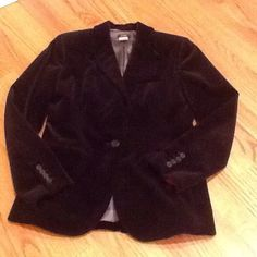 J.Crew black velvet blazer - Fun! Gorgeous black velvet jacket.  Fitted at the waist, great slender fit.  Longer jacket, so it covers your bum.  Inside pocket.  Fully lined.  Perfect for any outfit!  Some wear on the elbows and worn spot on the lapel (tried to show lapel in photo 3). J. Crew Jackets & Coats Blazers