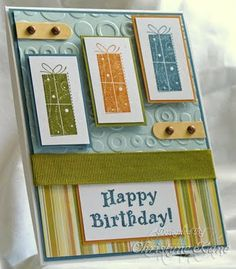 Stamps: Birthday Whimsy, Birthday Greetings   Paper: Blue Bayou, Soft Sky, Old Olive, Pumpkin Pie, Barely Banana, 110lb. white, DP   Ink: Blue Bayou, Old Olive, Pumpkin Pie   Accessories: Brads, dimensionals, ribbon   Tools: Cuttlebug embossing folder, SU word window punch