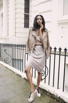 - nude slip dress with sneakers and jacket layering sprin summer 2016 trends Slip Dress Outfit, Dress Outfits, Casual Outfits, Fashion Outfits, Dresses, Dress Fashion, Fashion Week, Look Fashion, Fashion Bloggers