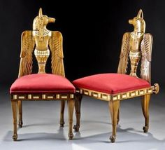 A PAIR OF NICELY CARVED EGYPTIAN REVIVAL FRUITWOOD AND INLAID SIDE  CHAIRS, ENGLISH, CIRCA 1880, each splat fashioned to represent the  jackal-headed and winged Egyptian god Anubis in profile  Simpson Gallery, Fine Art and Antiques, Houston Texas, Oct 16th