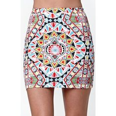 Billabong Geo Smash Bodycon Mini Skirt ($28) ❤ liked on Polyvore featuring skirts, mini skirts, stretch mini skirt, patterned mini skirt, print skirt, short skirts and high waisted mini skirt