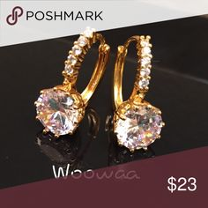 18K gold filled with swarovski crystal Available on 11/23/16  Earring size:15*15cm Gem Type:swarovski crystal Main Gem Size:10mm Gem Quantity:12 Cut:round Brilliant Color:white Metal Type:18k gold filled Gram Weight:4.2grams  Come with a pretty box Jewelry Earrings