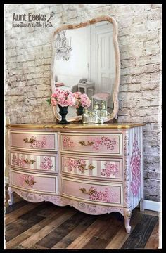 Vintage Furniture SOLD~ Elegant pink and gold Dixie dresser with matching mirror - ~SOLD~ this piece has sold, photos for portfolio purposes only. Funky Furniture, Refurbished Furniture, Upcycled Furniture, Shabby Chic Furniture, Furniture Makeover, Vintage Furniture, Furniture Ideas, Furniture Stores, Bedroom Furniture