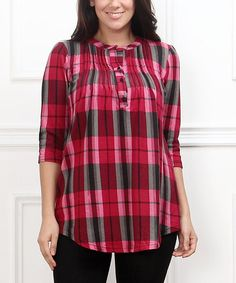 Another great find on #zulily! Red Plaid Notch Neck Tunic - Plus #zulilyfinds