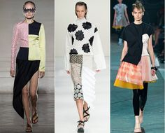 Mix & Match With pieces in silk, cottons, patchwork prints and materials as wells as an array of different colors, the runway resonated with modernity as eclectic looks and conceptual silhouettes took center stage.   From left to right: Maison Martin Margiela, Marni, Marc by Marc Jacobs  A trend also seen at: Jean Paul Gaultier, Versus Versace, Proenza Schouler