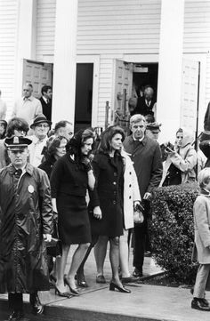 Jackie Kennedy and Katharine Graham leaving the funeral of Joseph P. Kennedy, in Hyannisport, MA. November 21, 1969