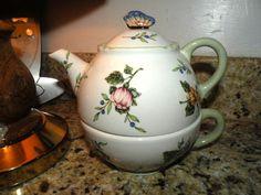 PRINCESS HOUSE Vintage Garden Butterfly 3 Piece Tea Pot & Cup & Lid. Unused! BON - Princess House