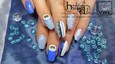 Blue High Definition colour Gel, fabulous colour and nail art work.
