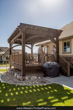 The deck has become the hub of the home since installing a DIY ShadeScape™ pergola kit. They enjoy eating outside. Grandpa and Grandma's pergola is the favorite play place for all the grandkids as well. #DIYCoveredDeck #OutdoorFamilyRoom Pergola Cost, Pergola Decorations, Building A Pergola, Pergola Canopy, Metal Pergola, Deck With Pergola, Wooden Pergola, Diy Deck, Covered Pergola