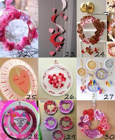 Valentine paper plate crafts for kids: wreath, mobile, dream catcher and threaded hearts