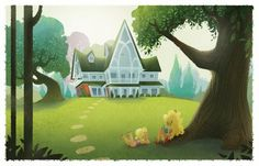 House by Brittney Lee. I love the lines in this house. Background Drawing, Landscape Background, Cartoon Background, Animation Background, Landscape Illustration, Children's Book Illustration, Illustrations, Environment Concept Art, Environment Design