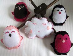 Pink Penguins Felt Mobile with Wood Hanger by madebyLins on Etsy, $90.00