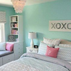 """Sherwin Williams """"Tame Teal"""" wall color."""