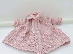 Pink merino matinee coat for baby girls   by TheVintageBabyCo