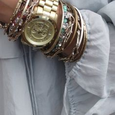 Michael Kors watch + arm candy. my everyday look. #gold