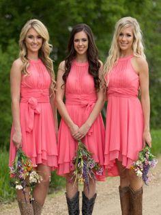 Short Bridesmaid Dress,blush bridesmaid dress,Bridesmaid dress with cowboy boots, Chiffon Bridesmaid dress, Simple bridesmaid dress, unique style bridesmaid dress, cheap bridesmaid dress, PD008272