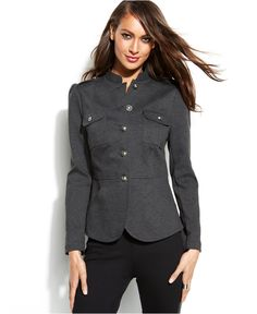 INC International Concepts Single-Breasted Military Jacket | Macy's - Sleek outerwear, available for sizes 0-18