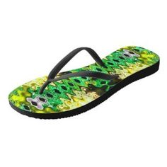 Vibrant Yellow Green abstract design flipflops sandals #zazzle #fashion #style