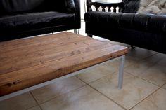 "Minwax ""English Chestnut"" DIY wooden coffee table with IKEA coffee table legs"