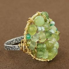 Gold-Filled & Sterling Silver Green Serpentine Quartz & Pearl Round Beaded Ring by Michelle Pressler $145.00