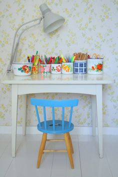 Kids creative corner in kids bedroom or playroom or main living space