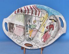 Italian Handpainted Ceramic Handled Divided Dish Italy Vtg Cafe de Paris LOVELY #MidCenturyModern
