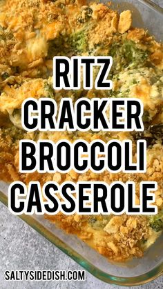 Ritz crackers broccoli casserole is a delicious broccoli casserole side dish recipe, perfect for holidays with a crunchy Ritz cracker and cheese topping Best Thanksgiving Recipes, Thanksgiving Side Dishes, Easter Recipes, Traditional Thanksgiving Recipes, Vegan Thanksgiving, Thanksgiving Outfit, Thanksgiving Decorations, Easy Casserole Recipes, Casserole Dishes