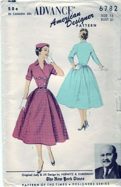 Vintage 1953 Advance 6782 Sewing Pattern by SewUniqueClassique