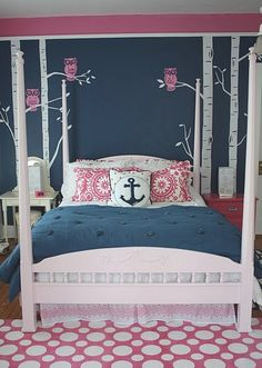 navy and hot pink, anchor pillow