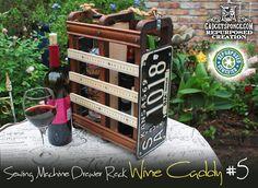 WINE / LIQUOR CADDY using Repurposed Singer Sewing Machine Drawer Rack with License Plates & Yardsticks by GadgetSponge.com - Repurposing, Upcycling, Birds & Nature