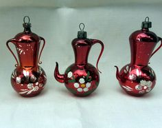 3 VTG ANTIQUE GERMAN Red MERCURY GLASS TEAPOT URN Christmas ORNAMENTS LOT