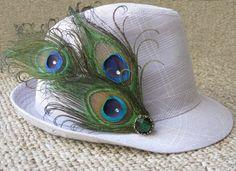 DEMITRI -- Peacock Feather Trio Hat Pin with Swarovski Jewels. $30.00, via Etsy.