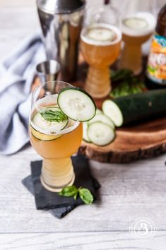 Beer Cocktail Recipe: Cucumber Basil IPA Cooler - The Beeroness #cocktailrecipes