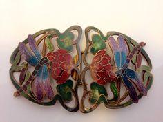 Art Nouveau Vintage Enamel Buckle. Dragon Fly Engraved Buckle.  by Vintage0156 on Etsy https://www.etsy.com/listing/220501632/art-nouveau-vintage-enamel-buckle-dragon