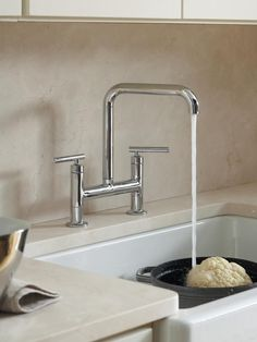 Sometimes a touch of modern architecture is all you need to update your look. Kohler's Purist faucet line has a minimalist profile, a 360-degree swivel spout, lever handles, and high clearance for pots and pans. All finishes are complementary to a neutral palette: Polished Chrome (shown), Vibrant Polished Nickel, Matte Black and Vibrant Stainless. Image courtesy of Kohler