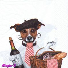 Serviette en papier le chien Français humour beret vin et pain Jack. Paper napkin French dog humor : Serviettage, Décopatch par magic-serviettes