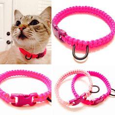 Paracord Break Away Cat Collar - Paracord - Pink Cat Collar - Break Away Kitty Collar - Pink Kitty Collar - Handmade Cat Collar - Macrame
