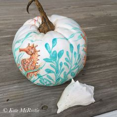 Fall coastal decor| pumpkin decor | chinoiserie pumpkin| beach pumpkin | coastal pumpkin | fall pumpkin | seahorse | coastal decor | by KateMcRostieHandmade on Etsy https://www.etsy.com/listing/249215352/fall-coastal-decor-pumpkin-decor