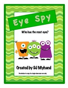 Eye Spy - Who Has the Most Eyes? Card game to practice many speech skills.