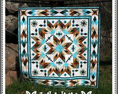 Southwest Quilt Pattern - Bear Paw / Indian / Native American quilt - King Size: x Star Quilt Patterns, Star Quilts, Quilt Blocks, King Quilts, Southwestern Quilts, Southwestern Style, Indian Quilt, Native American Patterns, American Quilt