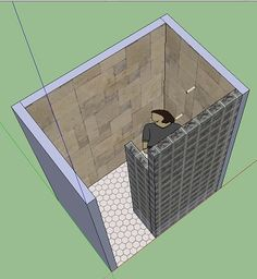 """Water can still """"ricochet"""" and splash out the opening. You might want to consider adding a short wall that sticks into the shower. It only has to be 1'3"""" to 1'6"""" long to completely block the opening."""