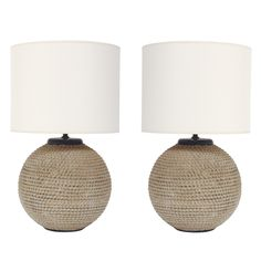 Pair of Nautical Ceramic Rope Lamps by Ugo Zaccagnini