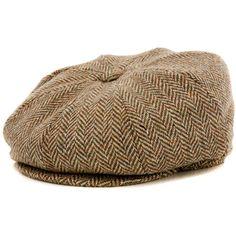 Capello Laird Herringbone Tweed Newsboy Cap - Green Herringbone (€26) ❤ liked on Polyvore featuring accessories, hats, green herringbone, caps hats, tweed cap, sun visor hat, panel hats and sun visor cap