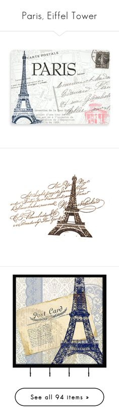 """Paris, Eiffel Tower"" by oleahg ❤ liked on Polyvore featuring paris, travel, パリ, home, home decor, wall art, backgrounds, blue, paris home decor and blue wall art"