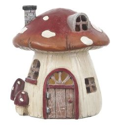 Ganz Mini Mushroom House LED Figure for Fairy Garden ~ Lights Up ~ Polystone