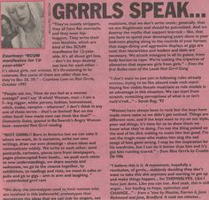 Quotes from Courtney Love, Diamanda Galas, and Sarah Bag in a Riot Grrrl Zine