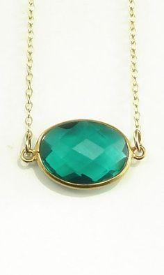 Green Apatite Quartz Necklace 14K Gold Filled Solitaire Gemstone